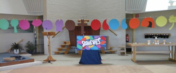 Picture Smarties in church service Easter