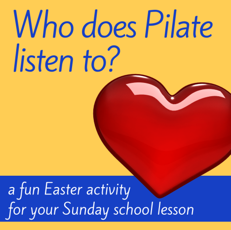 Who does Pilate listen to creative activity about Easter Bible story Jesus is crucied cross for Sunday school lesson VBS youth ministry Bible lesson childrens ministry school assembly childrens church kidmin