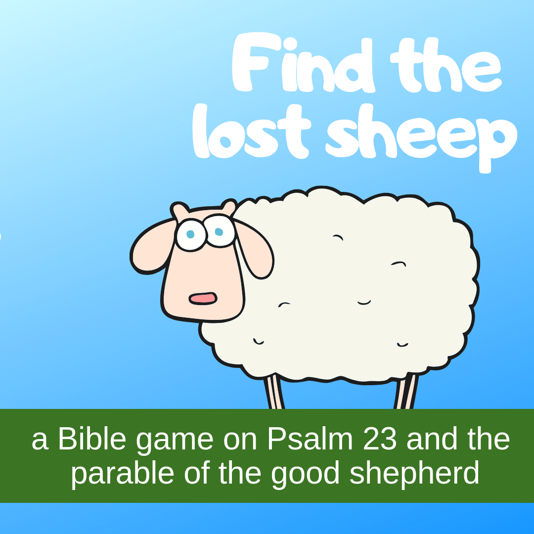 Find lost sheep creative activity on Psalm 23 parable good shepherd for Sunday school lesson kidmin VBS youth ministry childrens church childrens ministry