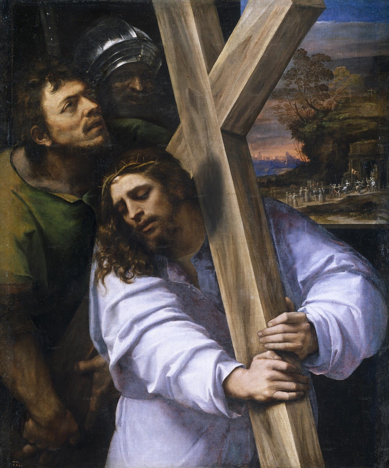 Jesus carries the cross