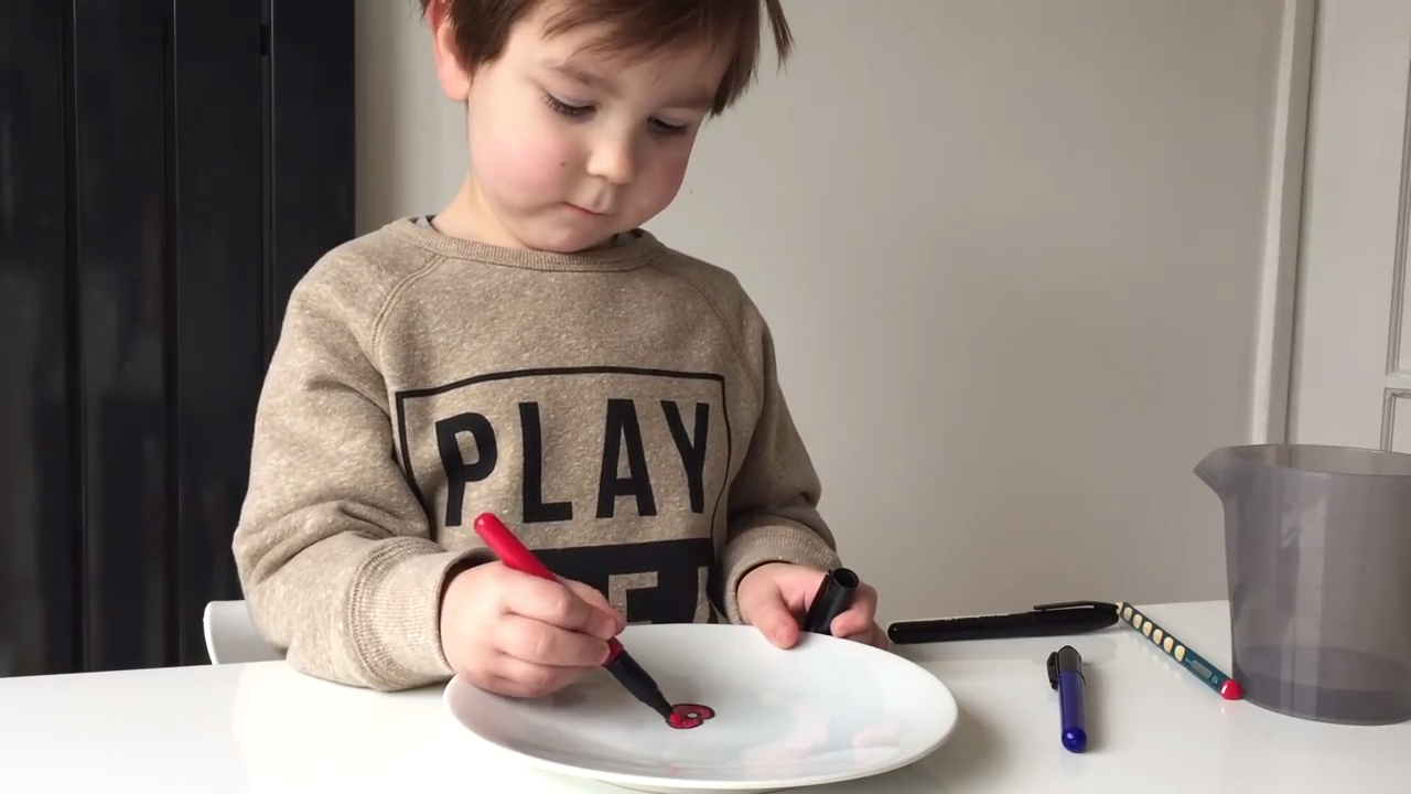 bringing a stick drawing to life with water