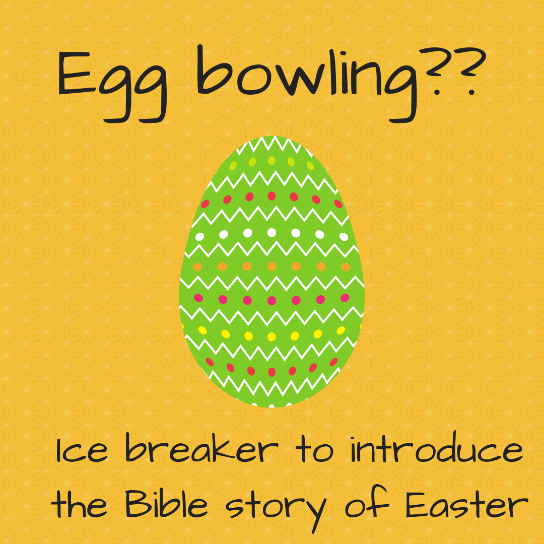Egg bowling icebreaker to introduce the Bible story of Easter Sunday school  lesson kids church kid