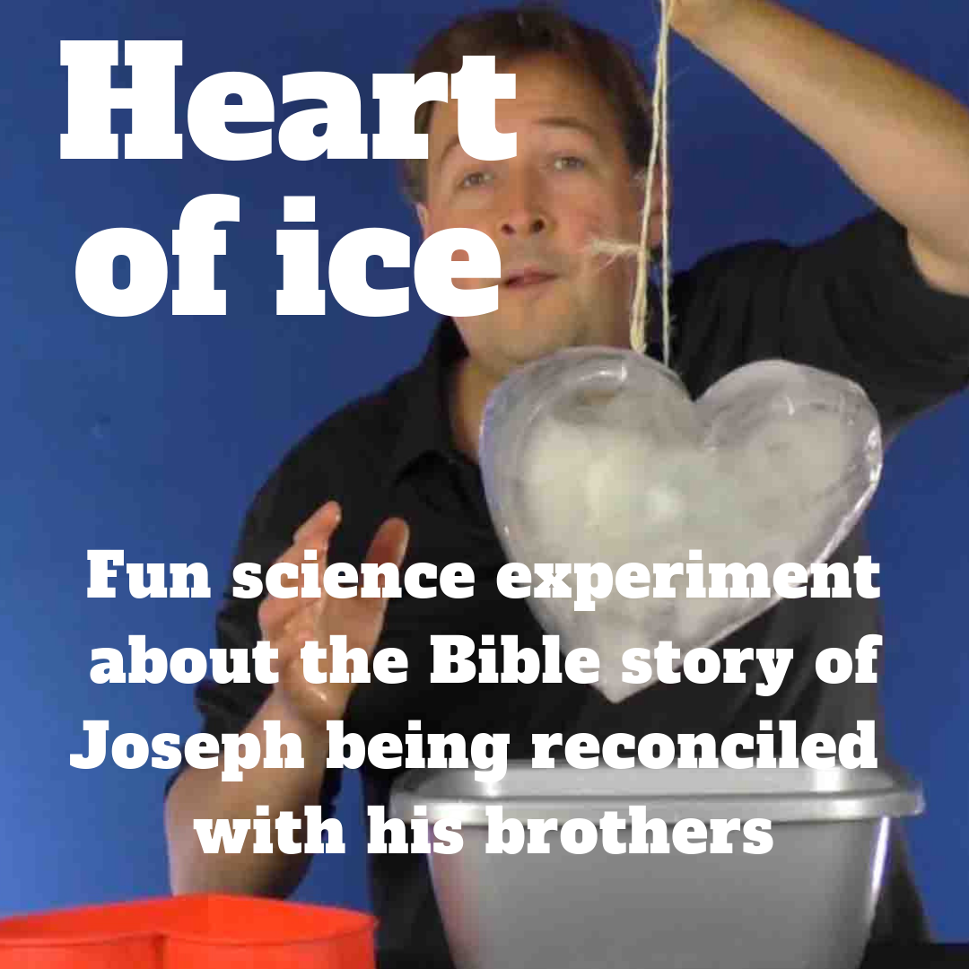 Heart of ice fun science experiment object lesson about Bible story of Joseph brothers Egypt for Sunday school lesson youth work kids church kids ministry