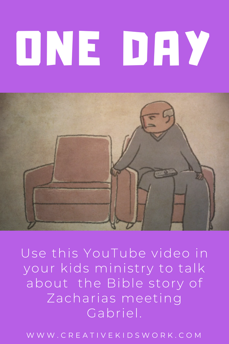 One Day use this secular YouTube video in your kids ministry to talk about the Bible story of Zacharias meeting Gabriel creative Kidswork